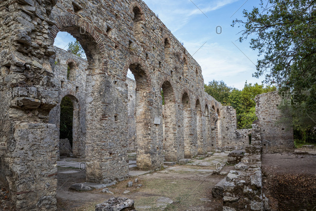 Albania- Vlore County- Butrint- Colonnade in remains of ancient Roman city