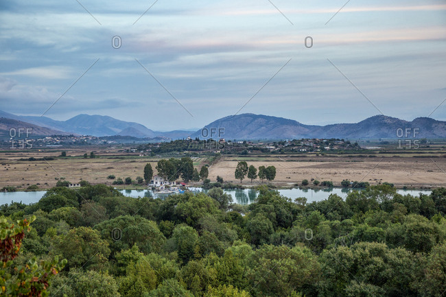 Albania- Vlore County- Butrint- View of Lake Butrint stretching between mountains and green forest