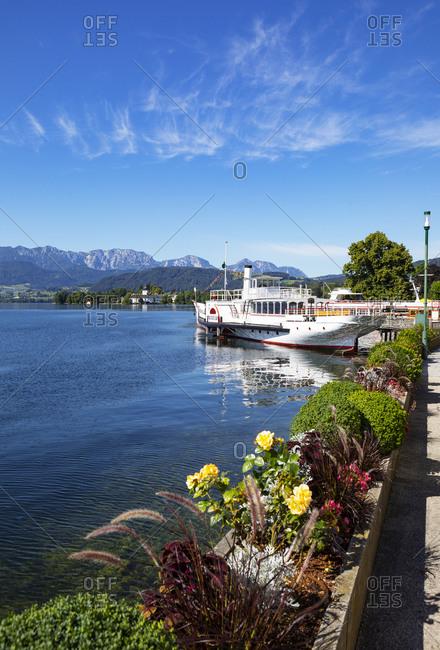 July 27, 2020: Historical paddle steamer Gisela on esplanade against blue sky- Gmunden- Salzkammergut- Traunsee- Upper Austria- Austria