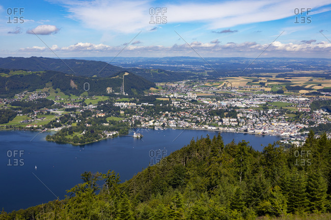 Town and Traunsee Lake against sky- Gmunden- Grunberg- Salzkammergut- Upper Austria- Austria