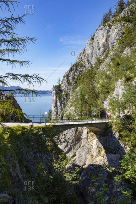 Bridge over Lainaugraben on Traunstein Mountain- Gmunden- Traunsee- Salzkammergut- Austria- Upper Austria