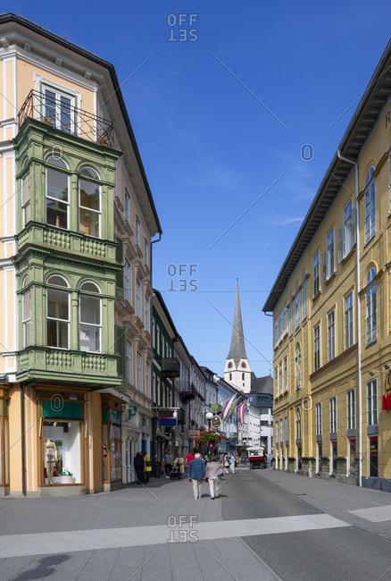 Pedestrian zone with parish church- Bad Ischl- Salzkammergut- Bad Ischl- Upper Austria- Austria