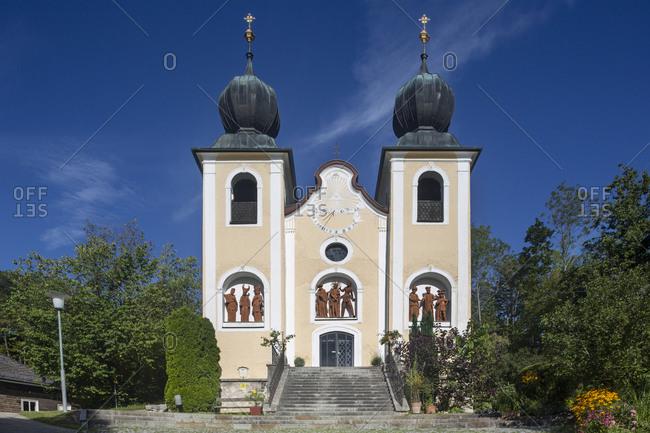 Kalvarienbergkirche against blue sky on sunny day- Salzkammergut- Bad Ischl- Upper Austria- Austria