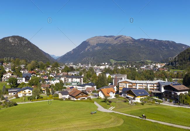 Townscape of Bad Ischl with Hohe Schrott on sunny day- Salzkammergut- Upper Austria- Austria