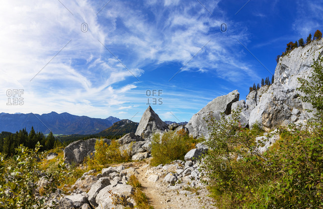 Rocks on mountain against sky at Salzkammergut- Austria