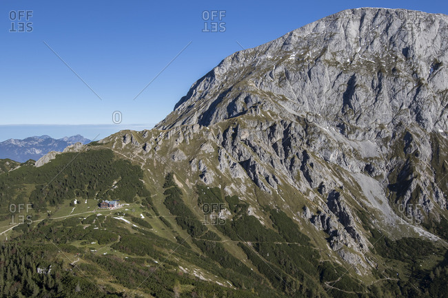 Gray mountain peak overlooking secluded Carl von Stahl-Haus