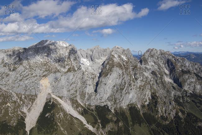 Gray mountain peaks under blue sky