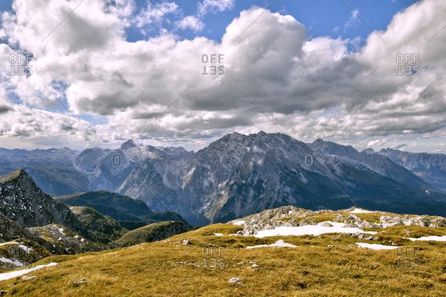 Clouds over Watzmann Glacier in Berchtesgaden National Park