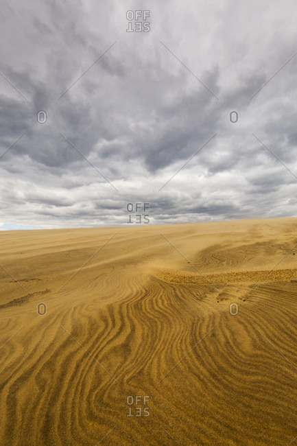 Large sand dunes and dynamic sky above Jockey's Ridge State Park in Nags Head, North Carolina
