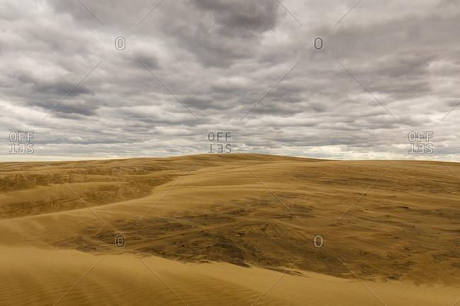 Dramatic cloudy sky above large sand dunes, Jockey's Ridge State Park in Nags Head, North Carolina