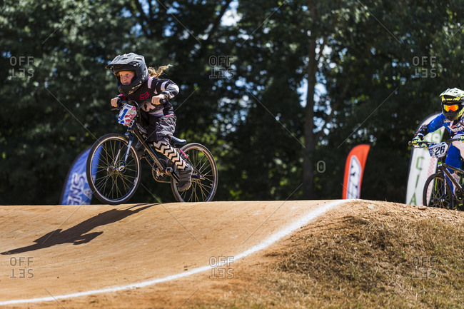Raleigh, North Carolina - September 19, 2015: Young racers compete in the 2015 Tar Heel National BMX Regional Championship race