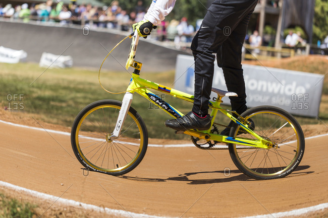 Raleigh, North Carolina - September 19, 2015: Racer competing in the 2015 Tar Heel National BMX Regional Championship race