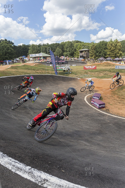 Raleigh, North Carolina - September 19, 2015: Racers compete on track in the 2015 Tar Heel National BMX Regional Championship race