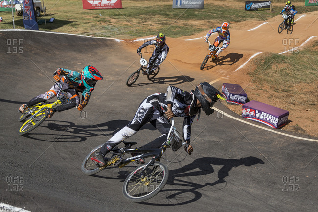 Raleigh, North Carolina - September 19, 2015: Group of young racers compete in the 2015 Tar Heel National BMX Regional Championship race