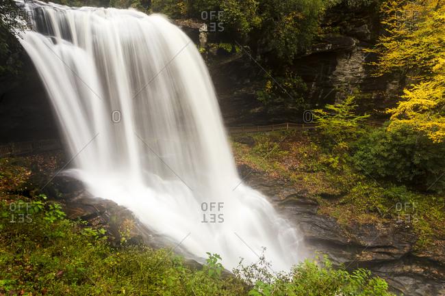 Long exposure of Dry Falls outside of Highlands, North Carolina within the Nantahala National Forest