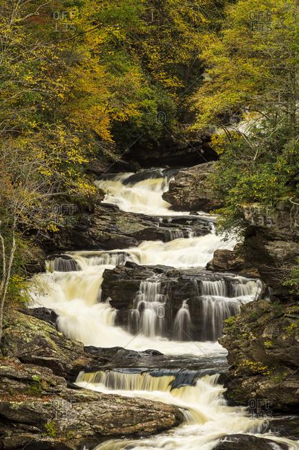 Cascading waterfalls at Cullasaja Falls outside of Highlands, North Carolina
