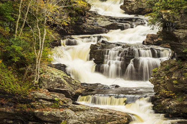 Cascading river of Cullasaja Falls outside of Highlands, North Carolina