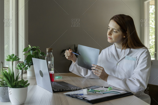 Female dentist explaining xray to patient through video call on laptop at home
