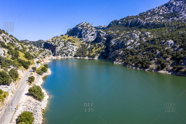 Spain- Balearic Islands- Helicopter view of Gorg Blau reservoir in summer