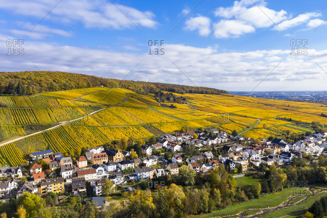 Germany- Hesse- Martinsthal- Helicopter view of rural town in autumn with vineyards in background