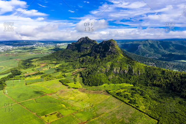 Mauritius- Black River- Helicopter view of Rempart Mountain in summer