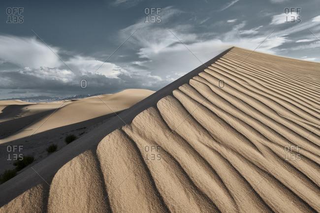 Sunset view of Cadiz Dunes at Mojave Desert- Southern California- USA
