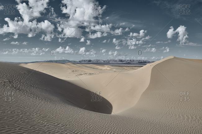 Landscape of Cadiz Dunes during sunset at Mojave Desert- Southern California- USA