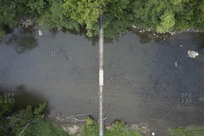 Drone view of suspension bridge over Cumberland River