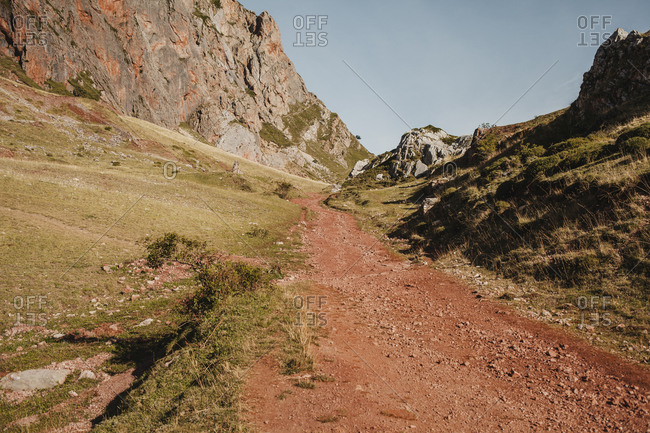 Dirt road of mountain at Somiedo Natural Park- Spain