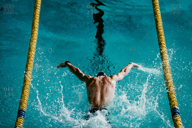 Male swimmer swimming with butterfly stroke in swimming pool