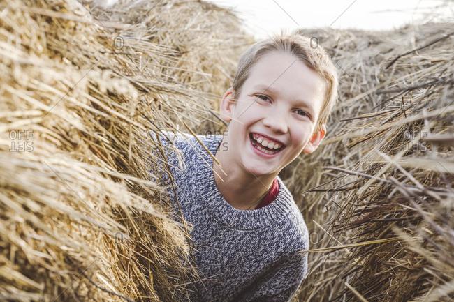 Cheerful boy peeking from haystack