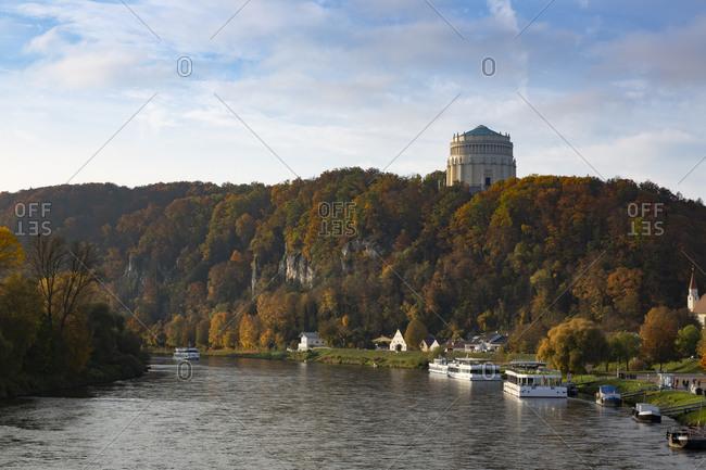 Liberation hall amidst trees by Danube river during autumn- Bavaria- Kelheim- Europe- Germany
