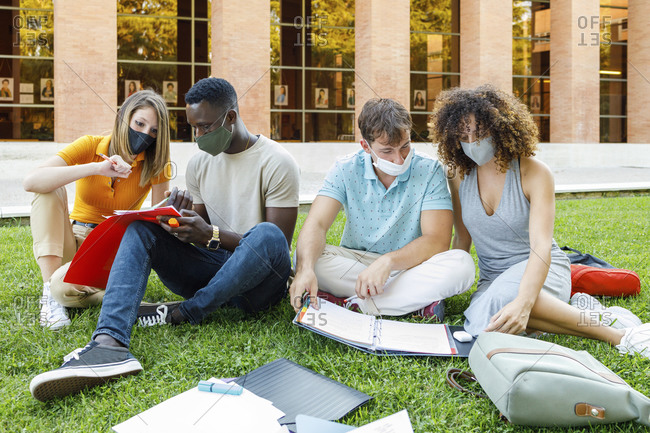 Male and female students studying together in campus at university
