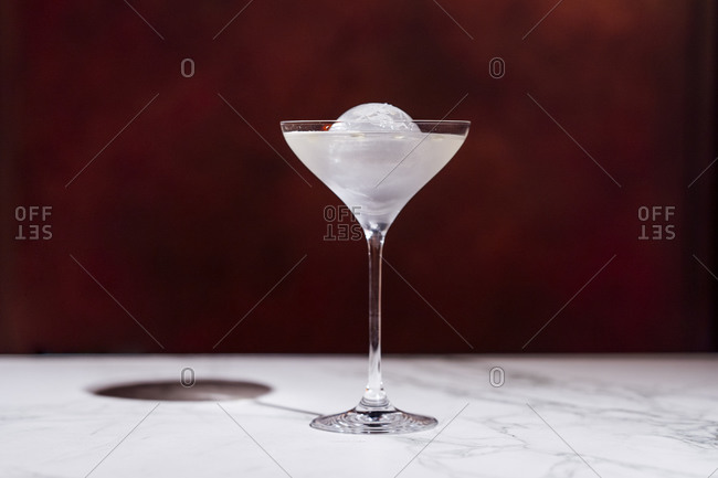 Cocktail in shiny Martini glass