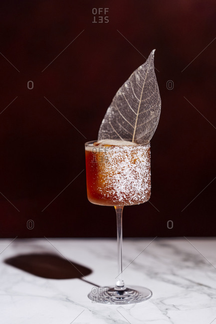 Cocktail in Martini glass with decorative ice leaf