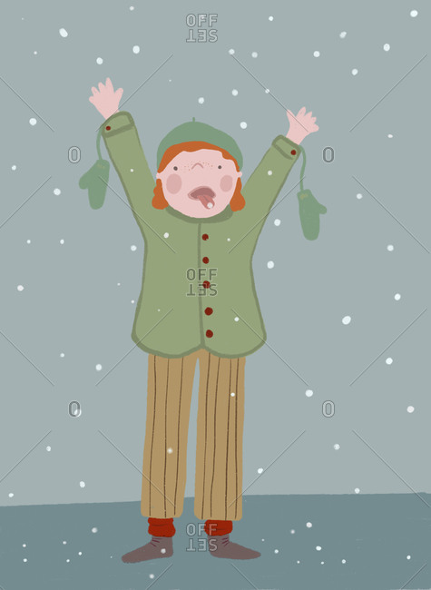 Clip art of boy catching snowflakes in winter