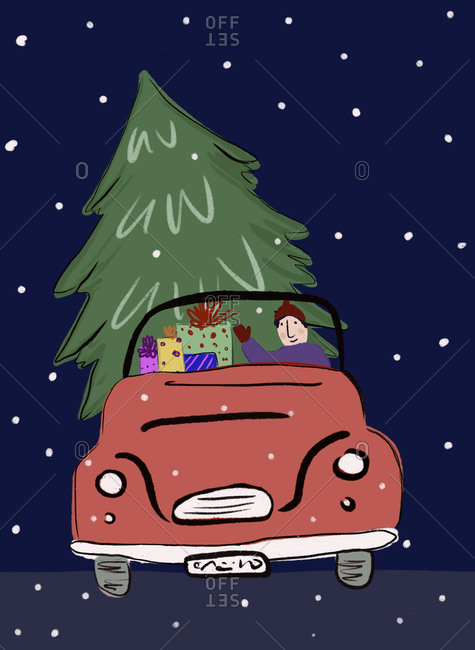 Clip art of man transporting Christmas tree and presents in car at snowy night
