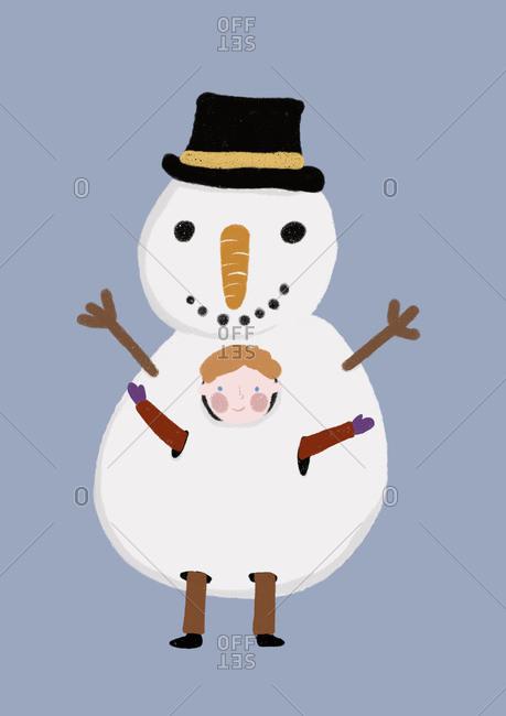 Clip art of little boy wearing snowman costume