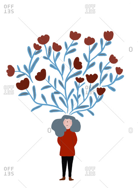 Clip art of blooming tulips representing imagination of woman standing with hands behind back