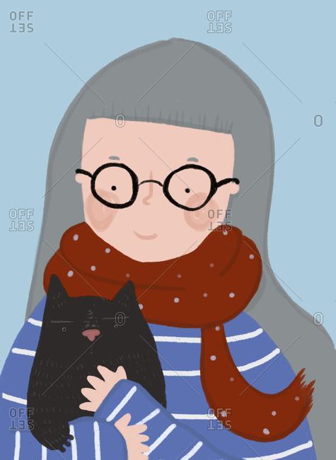 Clip art of senior woman wearing eyeglasses holding pet cat