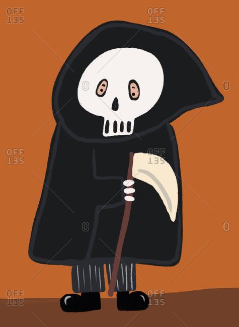 Clip art of person wearing Grim Reaper costume