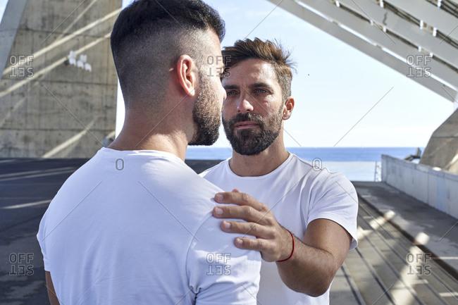 Gay man with boyfriend at Parc del Forum- Barcelona- Spain