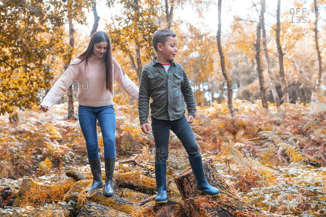 Brother and sister standing on fallen tree in Cannock Chase park during autumn