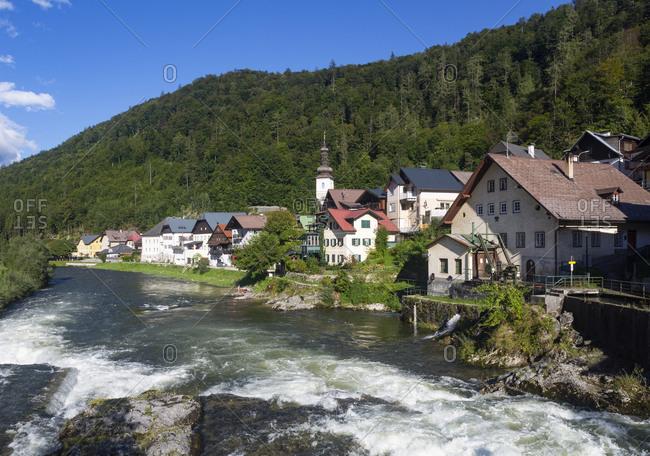 Traun river flowing by building in lauffen at Salzkammergut- Upper Austria- Austria