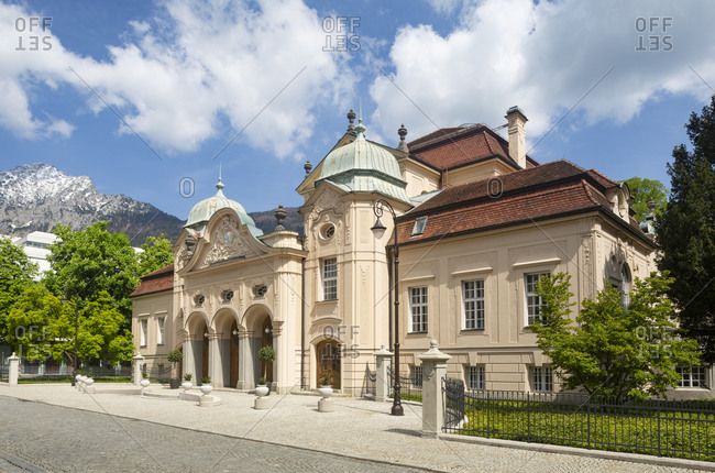 Germany- Bavaria- Bad Reichenhall- Facade of spa in Royal Spa Garden