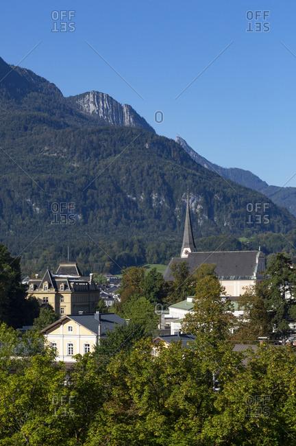 Austria- Upper Austria- Bad Ischl- Town in Salzkammergut with Katrin mountain in background