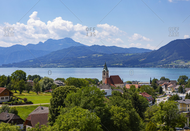 Austria- Upper Austria- Weyregg am Attersee- Rural town on shore of Lake Atter in summer