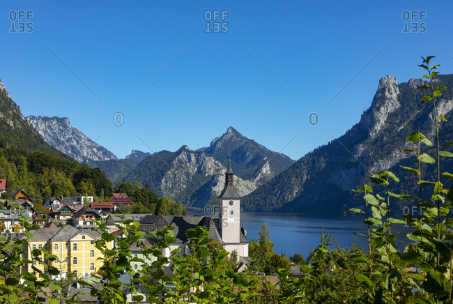 Austria- Upper Austria- Ebensee- Town on shore of lake Traunsee in summer