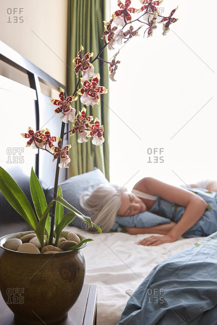 Mature Caucasian woman with silver hair sleeping in her bedroom