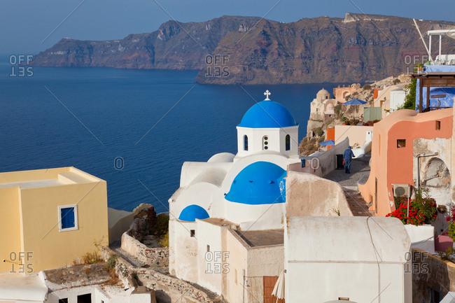 January 8, 2021: The village of Oia Santorini Cyclades islands, Greece